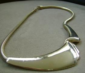 Sale Vintage Gold Wave Necklace 1960